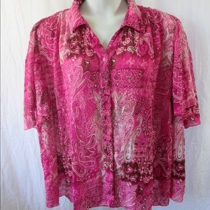 Maggie Barnes Bright Pink Paisley Crinkle Top 2X